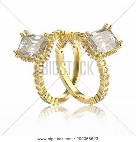 3D illustration isolated two yellow gold diamonds decorative ring with reflection on a white background