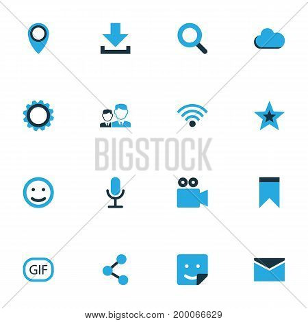 Media Colorful Icons Set. Collection Of Bookmark, Location, Share And Other Elements
