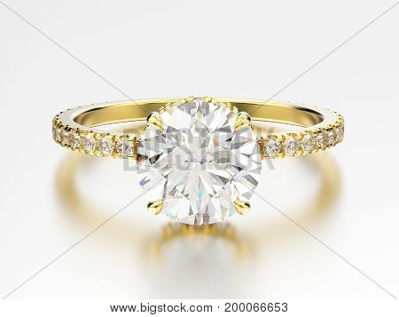 3D illustration yellow gold traditional engagement ring with diamond with reflection on a grey background