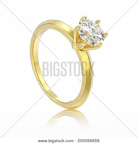 3D illustration isolated yellow gold traditional solitaire engagement diamond ring with reflection on a white background