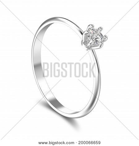 3D illustration isolated white gold or silver traditional solitaire engagement ring with shadow on a white background