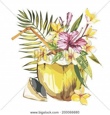 Vector coconut hand drawn sketch with palm leaf, plumeria and a pink hibiscus flowers. Watercolor vector tropical food illustration. Isolated on white background