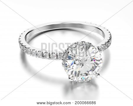 3D illustration white gold or silver traditional engagement ring with diamond with reflection on a grey background