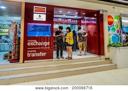 Kota Kinabalu,Sabah-July 22,2017:Money changer shop for visitor and tourist at IMAGO Shopping Complex in Kota KInabalu,Sabah,Malaysia.
