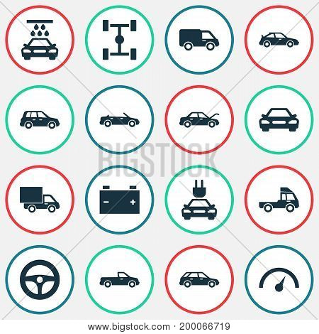 Automobile Icons Set. Collection Of Lorry, Drive Control, Hatchback And Other Elements