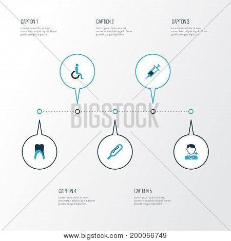 Drug Colorful Icons Set. Collection Of Disabled, Tooth, Vaccine And Other Elements