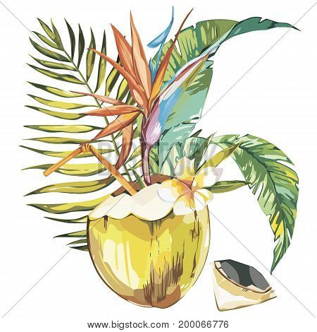 Vector coconut hand drawn sketch with palm leaf, plumeria and strelitzia flowers. Watercolor vector tropical food illustration. Isolated on white background