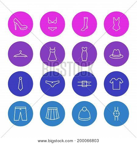 Editable Pack Of Fedora, Swimming Trunks, Evening Dress And Other Elements.  Vector Illustration Of 16 Clothes Icons.