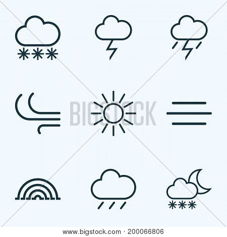Air Outline Icons Set. Collection Of Snow, Lightning, Snowfall And Other Elements