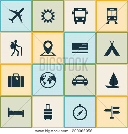 Traveling Icons Set. Collection Of Sunny, Railway Carriage, Mastercard And Other Elements