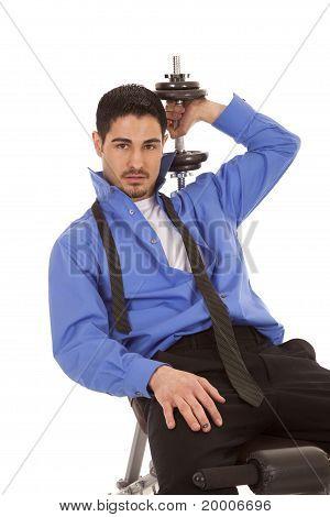 Business Man Weights Over Shoulder