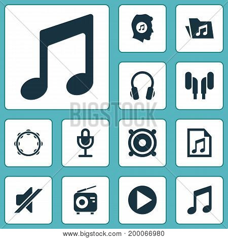 Audio Icons Set. Collection Of Timbrel, Silence, Tuner And Other Elements