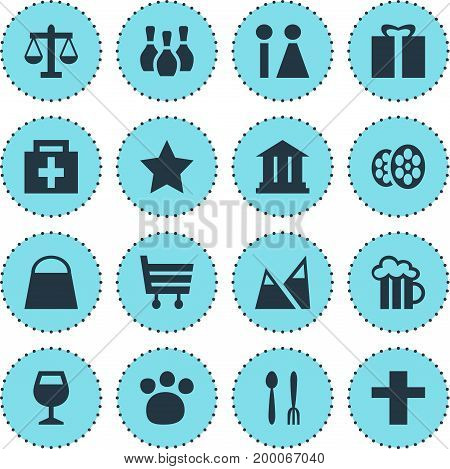 Editable Pack Of Beer Mug, Pet Shop, Cafe And Other Elements.  Vector Illustration Of 16 Travel Icons.