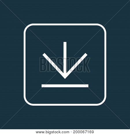 Premium Quality Isolated Down Arrow Element In Trendy Style.  Downloading Outline Symbol.