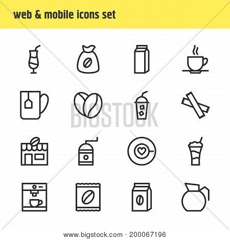 Editable Pack Of Package, Mill, Package Latte And Other Elements.  Vector Illustration Of 16 Drink Icons.