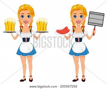 Oktoberfest vector illustration with sexy redhead girl holding six pints of beer and standing with grilles sausages and bbq grid. Can be used for poster invitation banner.