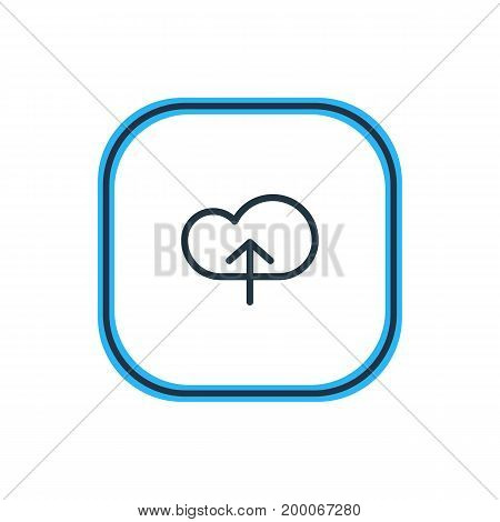 Beautiful Storage Element Also Can Be Used As Upload Element.  Vector Illustration Of Cloud Outline.