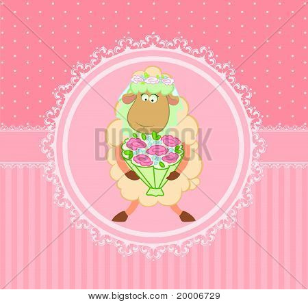 Cartoon sheep of the bride on the background of the decorative frame vector