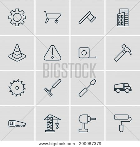 Editable Pack Of Measure Tape, Harrow, Circle Blade And Other Elements.  Vector Illustration Of 16 Construction Icons.