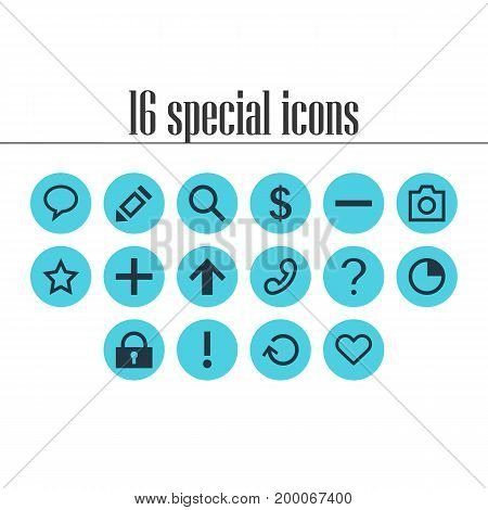 Editable Pack Of Top, Minus, Pen And Other Elements.  Vector Illustration Of 16 Member Icons.