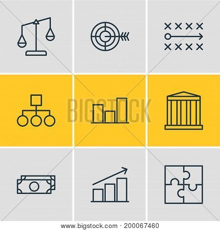 Editable Pack Of Scheme, Riddle, Building And Other Elements.  Vector Illustration Of 9 Business Icons.