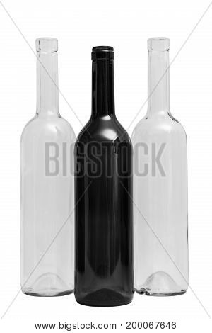 Three glass transparent clean empty single shiny beautifulclassic simple square black and white bottles on isolated white background.