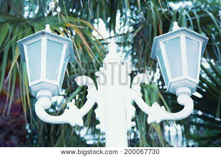 Streetlight white color .  Metal electric streetlight .