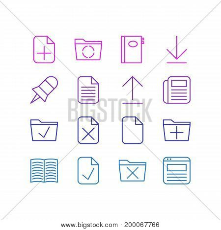 Editable Pack Of Document, Loading, Textbook And Other Elements.  Vector Illustration Of 16 Workplace Icons.