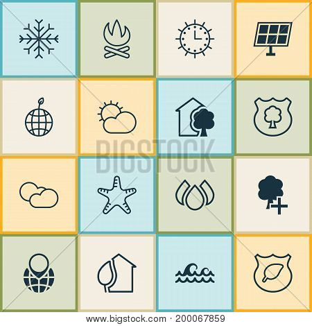 Ecology Icons Set. Collection Of Clear Climate, Home, Sun Clock And Other Elements