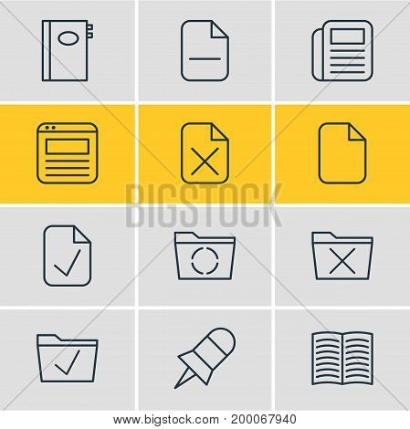 Editable Pack Of Delete, Done, Approve And Other Elements.  Vector Illustration Of 12 Office Icons.
