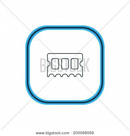 Beautiful Computer Element Also Can Be Used As Memory Chip Element.  Vector Illustration Of Ram Outline.