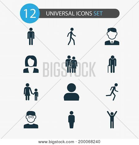 Person Icons Set. Collection Of Gentleman, Family, Happy And Other Elements