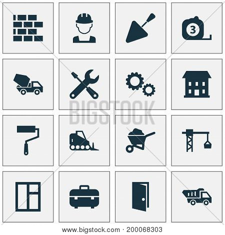 Architecture Icons Set. Collection Of Glass Frame, Cement Vehicle, Carry Cart And Other Elements