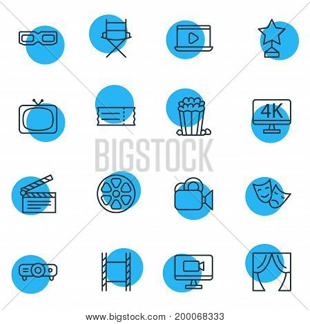 Editable Pack Of Shooting Seat, Movie Reel, Theater And Other Elements.  Vector Illustration Of 16 Movie Icons.