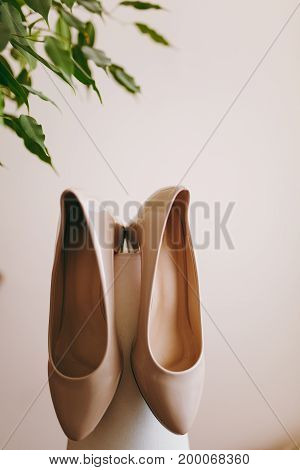 Beautiful Beige Bride Shoes With High Heels