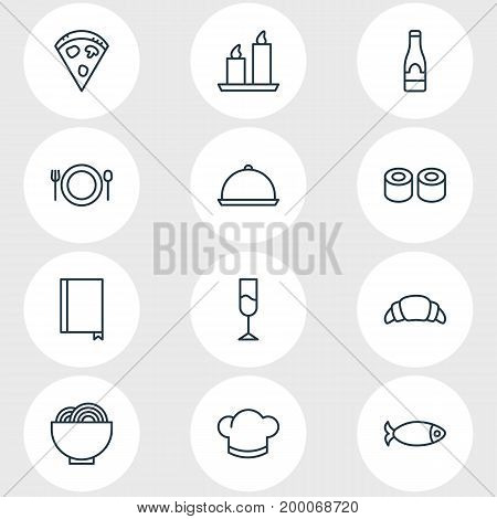 Editable Pack Of Dessert, Tray, Bowl And Other Elements.  Vector Illustration Of 12 Restaurant Icons.