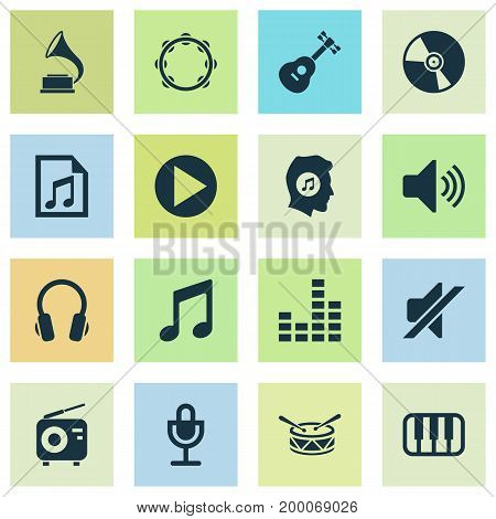 Audio Icons Set. Collection Of Tuner, Phonograph, Timbrel And Other Elements