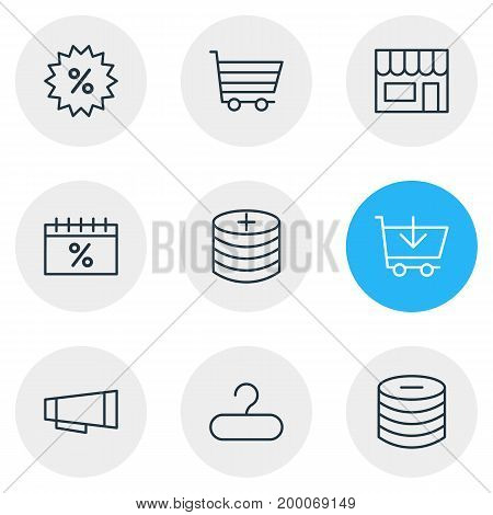 Editable Pack Of Sales, Rack, Box And Other Elements.  Vector Illustration Of 9 Wholesale Icons.