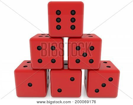 Dice in red color stacked in pyramid . 3D illustration