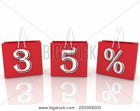 Shopping bags with inscription 35 percents . 3D illustration