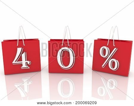Shopping bags with inscription 40 percents . 3D illustration