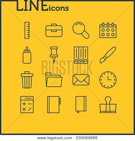 Editable Pack Of Binder Clip, Copybook, Meter And Other Elements.  Vector Illustration Of 16 Stationery Icons.