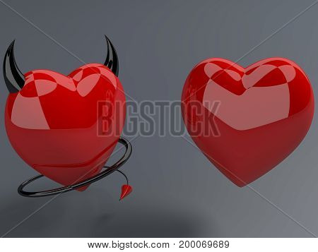 Red heart and devil red hearts with horns and tails . 3D illustration