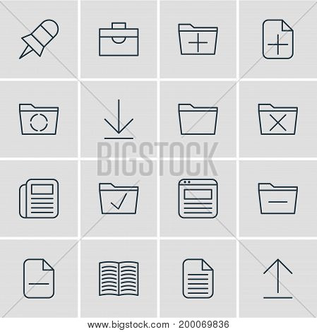 Editable Pack Of Blank, Note, Textbook And Other Elements.  Vector Illustration Of 16 Bureau Icons.