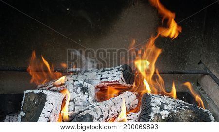 The flame in the fireplace. Burning firewood. Charcoal. Red. heat
