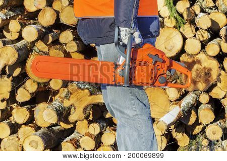 Lumberjack with chainsaw near pile of logs .