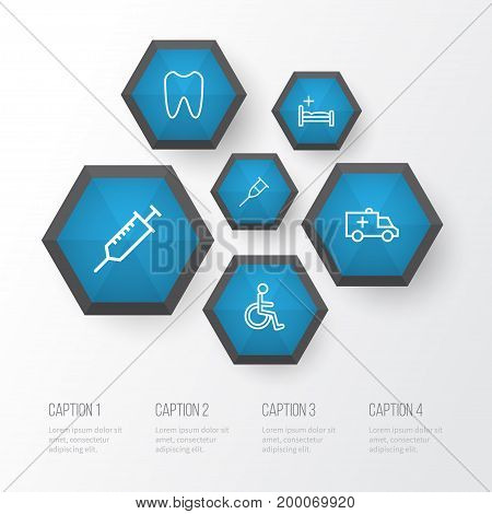 Drug Outline Icons Set. Collection Of Car , Stand , Tooth Elements