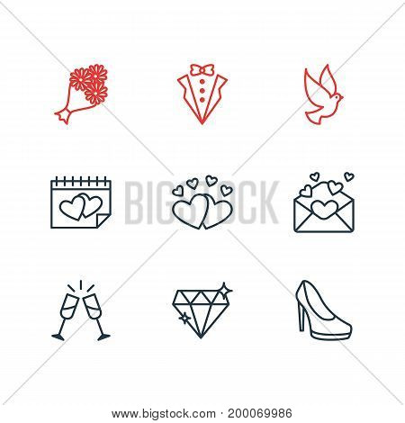Editable Pack Of Love, Wineglass, Pigeon And Other Elements.  Vector Illustration Of 9 Wedding Icons.