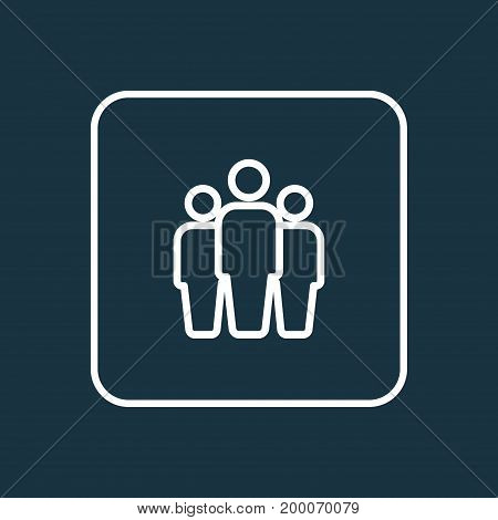 Premium Quality Isolated Team Element In Trendy Style.  Group Outline Symbol.