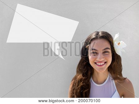 Digital composite of Woman with speech bubble against grey background
